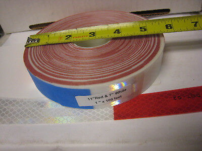 """WHITE / SILVER  RED Reflective   Conspicuity Tape  1"""" x 100'  7""""-11""""  DOT-C2"""