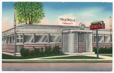 Triangle Diner advertising postcard   Winchester Virginia   Stainless Steel Car