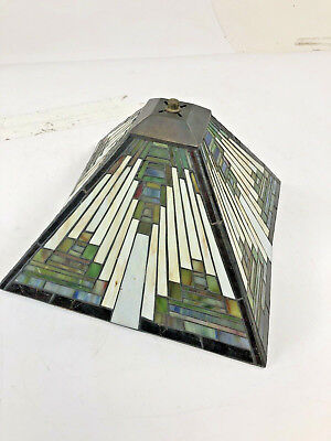 Vintage STAINED GLASS LAMP SHADE Leaded light floor table tiffany style green