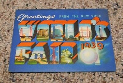 RARE 1939 New York Worlds Fair 18 View Fold Out Style Postcard Booklet