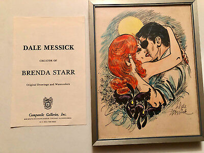 1970'S-80's Dales Messick Hand-Colored BRENDA STARR Print w/ Gallery Papers