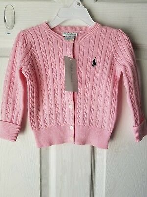 New RALPH LAUREN Cable Knit Cardigan Sweater Girl's SIZE 18 Months
