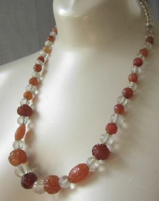 ANTIQUE CHINESE NECKLACE CARVED SHOU BEADS CARNELIAN ROCK CRYSTAL AMBER 14k
