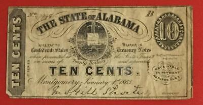 """1863 US State of Alabama """"TEN CENTS"""" Fractional ! VG! Old US Currency"""
