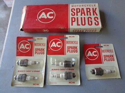 NOS Vintage new AC Spark Plugs (5) MC44 Motorcycle Harley 1000 Sportster Parts