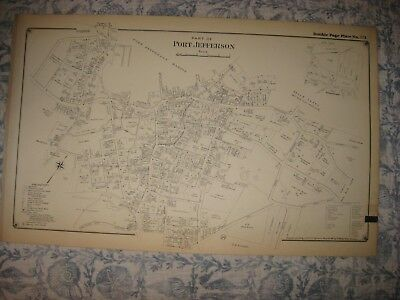 Large Vintage Antique 1917 Port Jefferson Suffolk County New York Map Fine Rare