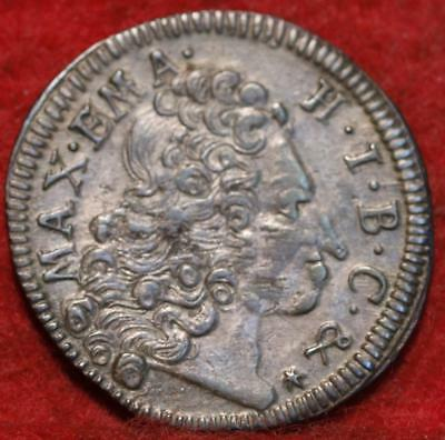 1723 German State Bavaria 3 Kreuzer Silver Foreign Coin
