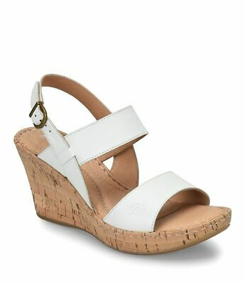 9a38bf013c73 NIB Born Cherry Cork Wedge Ankle Strap Leather Sandals White Women s Sz 6  ...
