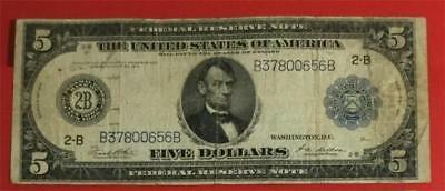 "1914 $5 Blue ""LARGE SIZE"" ""BIG 2-B"" New York VG X656 Old US Paper Currency"