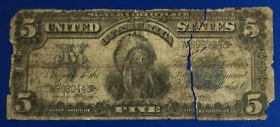 1899 $5 US Papa Chief Indian LARGE SIZE Currency Rough! Old US Paper Money!