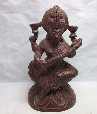 Vtg hand carved wood Hindu God figurine. 4 arms.