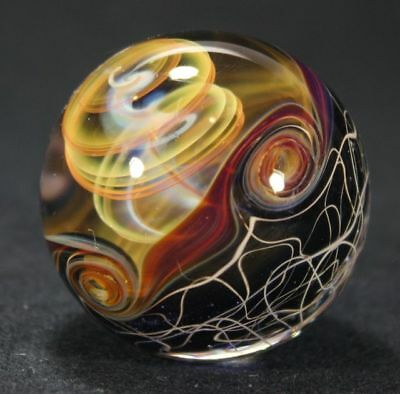 Juba Glass Contemporary Handmade Lampwork Marble Gold And Silver Fume Spiral