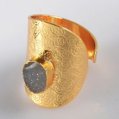 Size 8 Natural Agate Druzy Geode Ring Gold Plated H129275