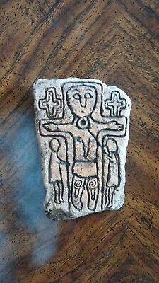 Old Cast Ancient Celtic Inishkea Crucifixion Irish Sculptural Plaque BIN OBO FS