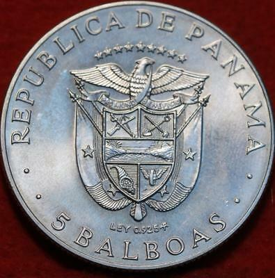 Uncirculated 1970 Panama 5 Balboas Silver Coin