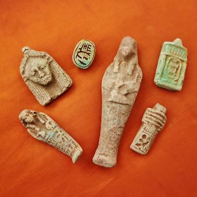 Rare UNIQUE Collection Set of 6 Ancient Egyptian Statuettes, Amulets & Plaques