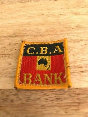 CBA Bank-'Map of Australia'-Cloth Badge-3.5 cm wide-deep-1970's-One Only.