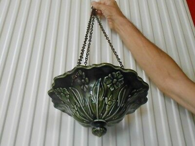 Antique French Green MAJOLICA Ceiling PLANTER JARDINIERE