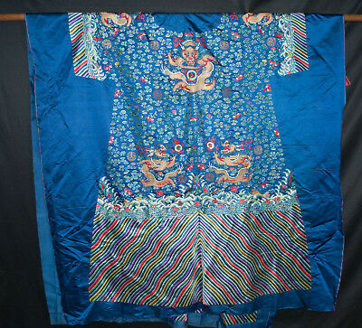 19th Century Chinese Embroidered Blue Silk Dragon Robe Tshing Qing Dynasty