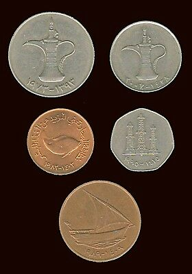UNITED ARAB EMIRATES:- 5 different circulation coins dated 1970's-2000's  AP7255