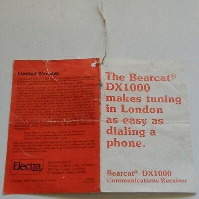 Original Bearcat Dx-1000 Communications Receiver Info+Warranty Tag Card, Rare