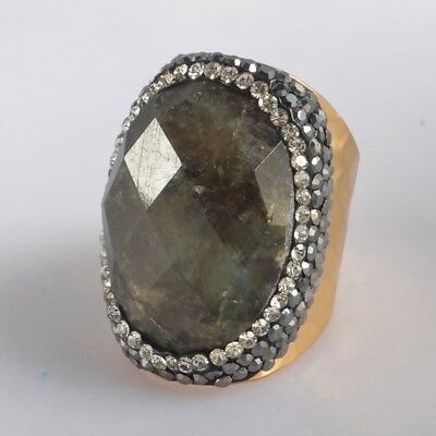 Size 6.5 Natural Labradorite Faceted Pave Zircon Ring Gold Plated B076418