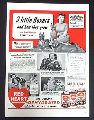 1943 Red Heart Dog Food Advertisement Boxers Spaniels Vintage Print AD