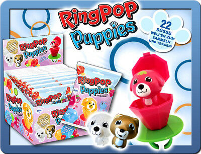 Topps Ring Pop Puppies 1 x Display / 12 Booster Hunde Figuren Sammelfiguren