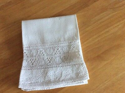 Vintage Unused Cotton Huck Bath Towel  Crochet lace Insertion