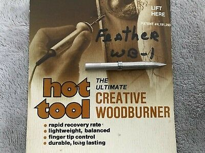 NOS NEW VTG Hot Tool Creative Wood Burner Wood Burning Tip Point Feather WB-1