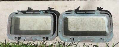 Matching Pair Vintage Hinged Portholes - Brass & Glass Porthole Ship Navy Marine