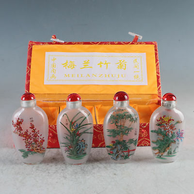 4 PCS Exquisite INSIDE HAND PAINTING GLAZE HAND FLOWERS LANDSCAPE SNUFF BOTTLES