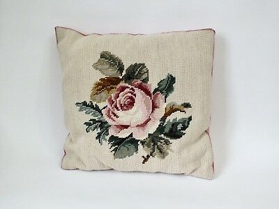 VINTAGE Pink Rose Floral  Beautiful Embroidered Needlepoint Tapestry CUSHION