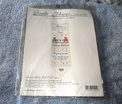 "Vintage Sandi Phipps Hearts Baby Bell Pull Counted Cross Stitch Kit 13"" x 4 3/4"""