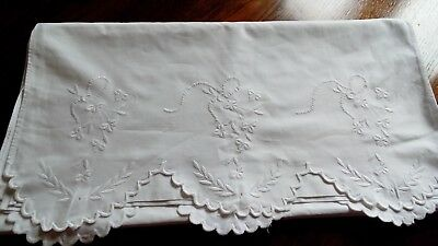 Vintage French Bolster cover White Cotton with EMBRIODERED ENDS