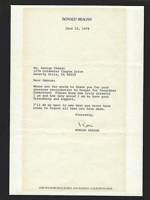President Ronald Reagan Signed Personal Letter Presidential Campaign JSA LOA