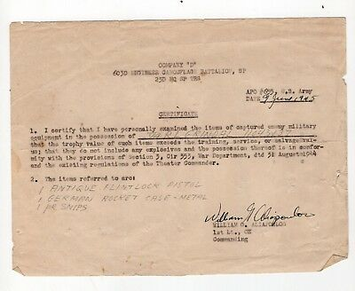 1945 Army Document Allowing Soldier To Keep Captured German Equipment
