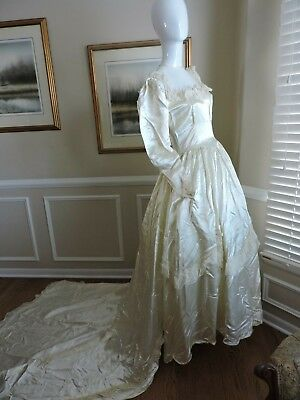 Vintage 1940's Liquid Satin Champagne  Long Sleeve Wedding Gown
