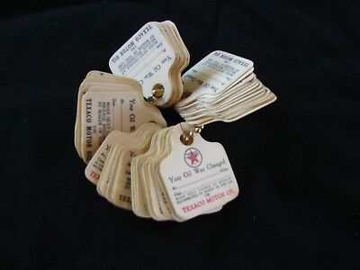 Vintage Texaco oil change tags on key chain (60)   (NOS) 1940's or 50's