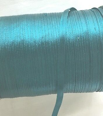 "100y/reel Teal 6mm 1/4"" Single Sided Faced Satin Ribbon Polyester Gift"