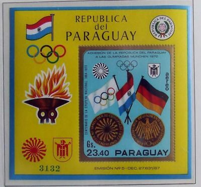PARAGUAY 1970 XF MNH** Sheet, Olympics Sport Flag Olympiade Stamps