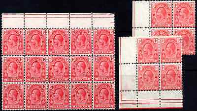 TURKS and CAICOS  KGV 1d TWO SHADES *** THREE M N H *** MULTIPLES