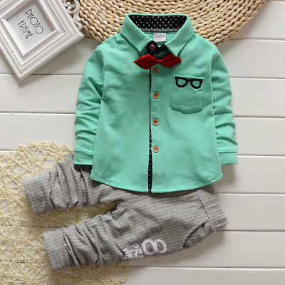 Boy's Shirt Pants Outfits Long Sleeve Tops Suit Sportwear Cotton Button Pockets