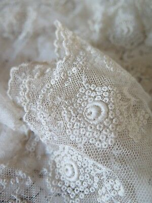 Antique french embroidered tulle Lace - Antik Tüll  Spitze bestickt - Shabby