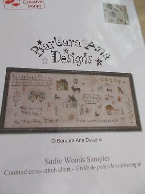 Barbara Ana Sadie Woods Sampler Pattern Country Prim Farm Family Animals Birds