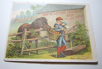 Antique Victorian White Sewing Machine Advertising Trade Card Enough for You & I