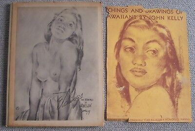 1943 BOOK ETCHINGS AND DRAWINGS OF HAWAIIANS. JOHN KELLY with most of front DJ