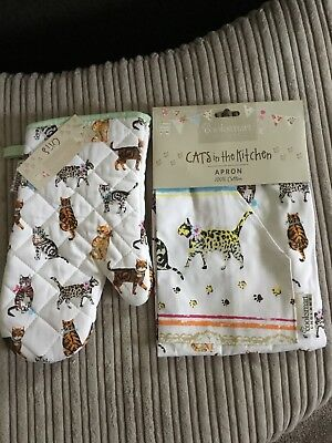 Cooksmart Cat Print Oven Glove And Apron Bnwt Cats