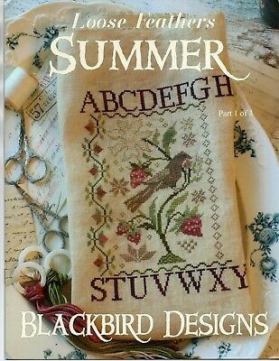 Blackbird Designs Loose Feathers Summer OOP Booklet Birds Fruit Flower Sampler