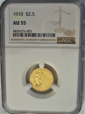 NGC-Certified, AU55, 1910 Gold $2.50 Quarter Eagle Indian Coin